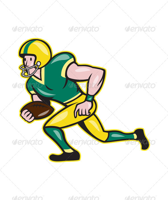 American Football Wide Receiver Running Ball - Sports/Activity Conceptual