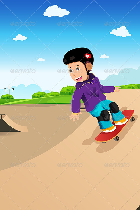 Kids Playing Skateboard - Sports/Activity Conceptual