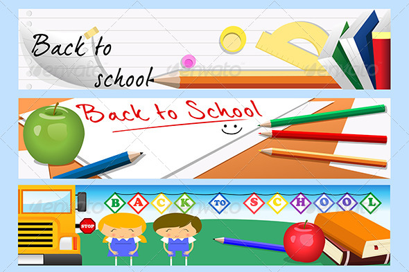 Back To School Banners - Decorative Vectors