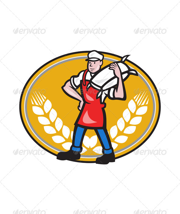 Flour Miller Carry Sack Wheat Oval - People Characters