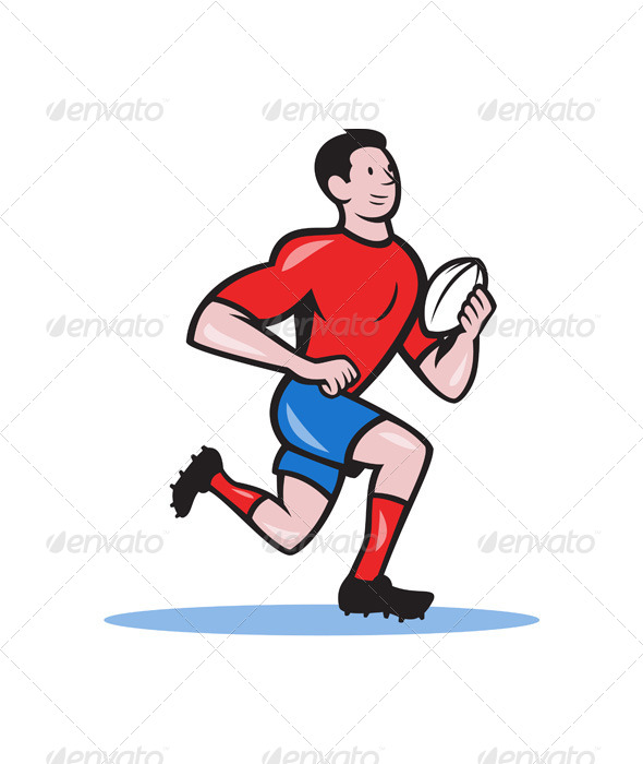 Rugby Player Running Ball Cartoon - Sports/Activity Conceptual