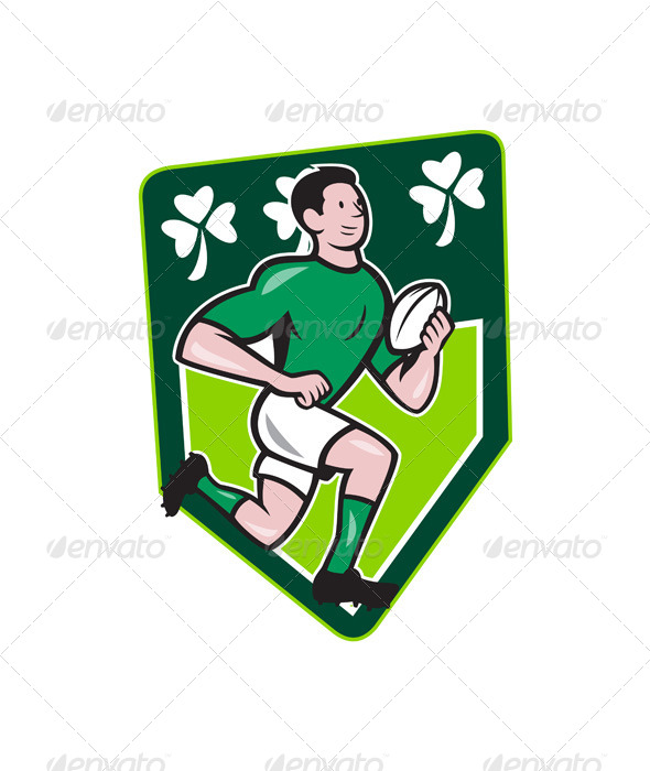 Irish Rugby Player Running Ball Shield Cartoon - Sports/Activity Conceptual