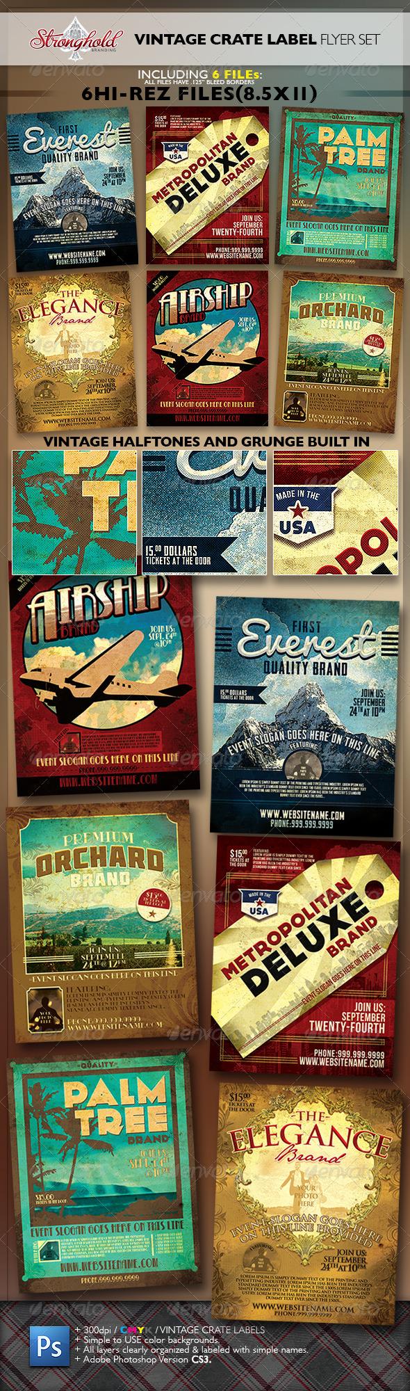 Vintage Fruit Crate Label Flyer Template Set - Flyers Print Templates