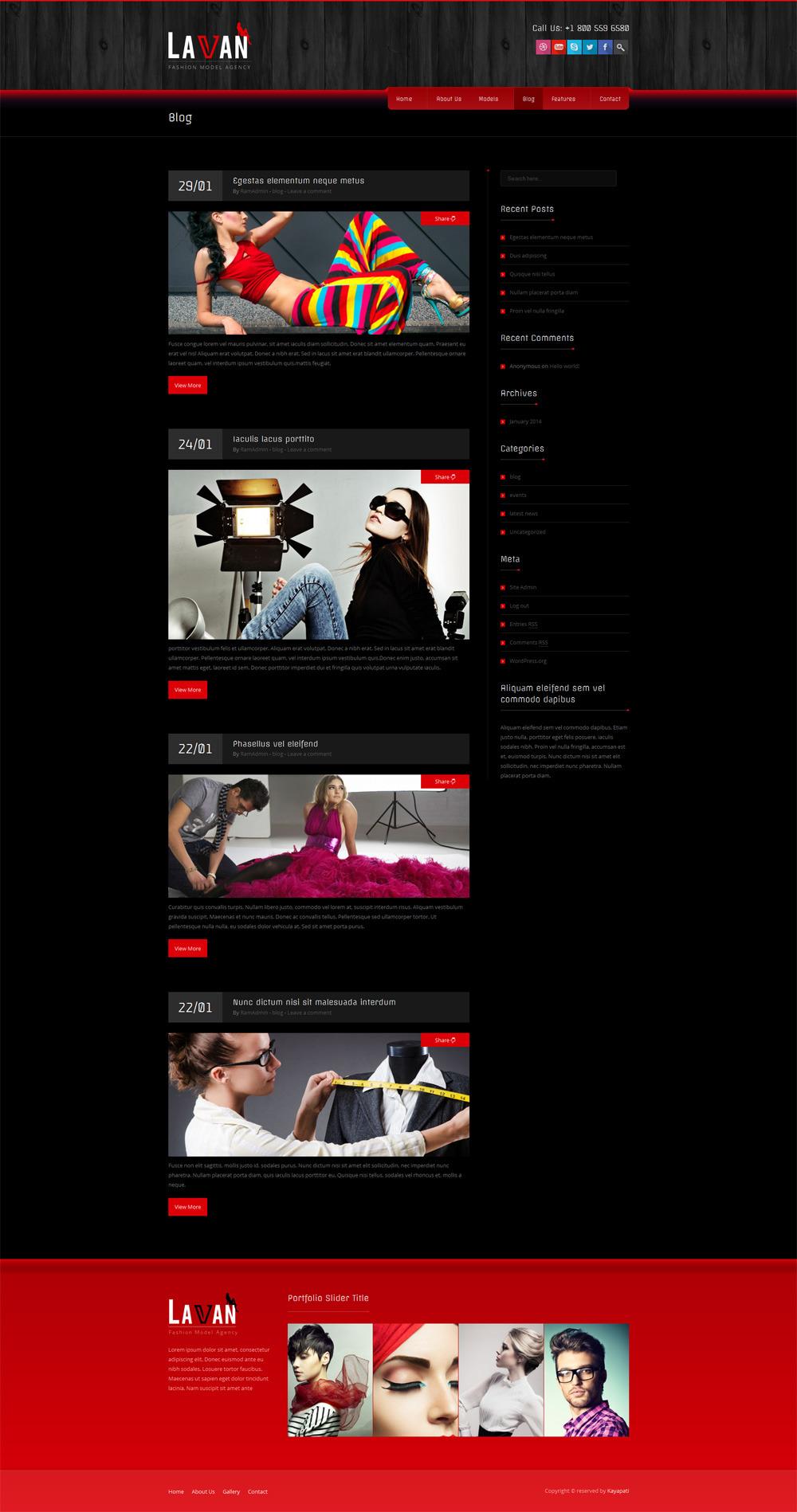lavan fashion model agency wordpress cms theme by kayapati themeforest. Black Bedroom Furniture Sets. Home Design Ideas