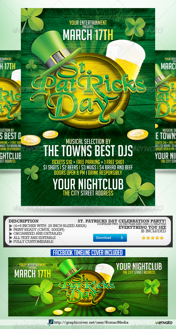 St. Patrick's Day Party Flyer - Holidays Events