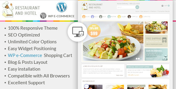 Restaurant - Wordpress E-Commerce Theme - WP e-Commerce eCommerce