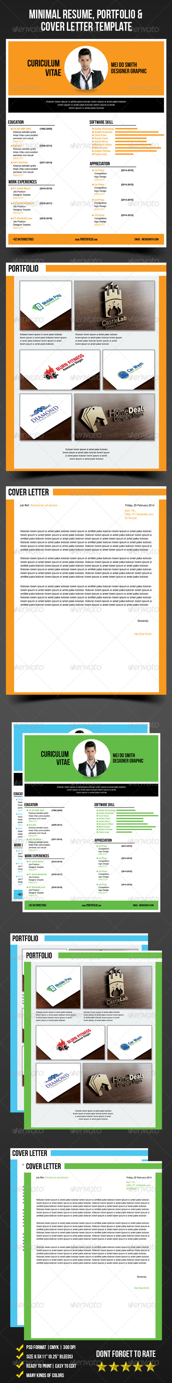 Minimal Resume, Portfolio & Cover Letter Template - Resumes Stationery