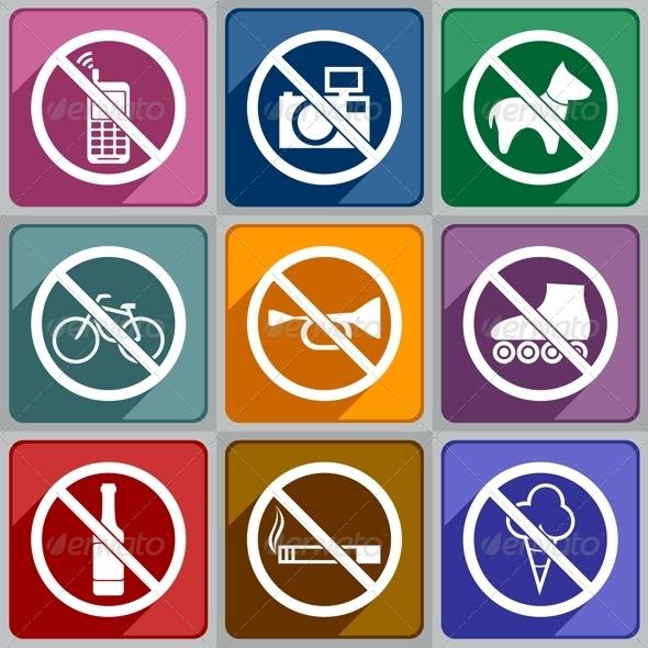 Icons Prohibition - Decorative Symbols Decorative