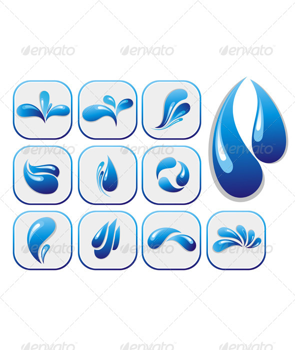 Water Drop Shapes Collection - Decorative Symbols Decorative