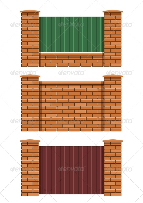 Brick Fence - Man-made Objects Objects
