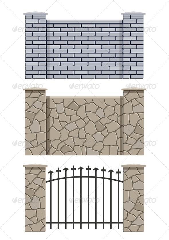 Brick and Stone Fence - Man-made Objects Objects