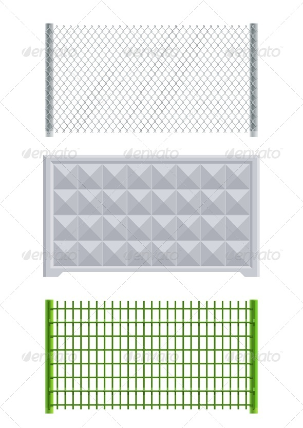 Meallic Net and Concrete Fence - Man-made Objects Objects
