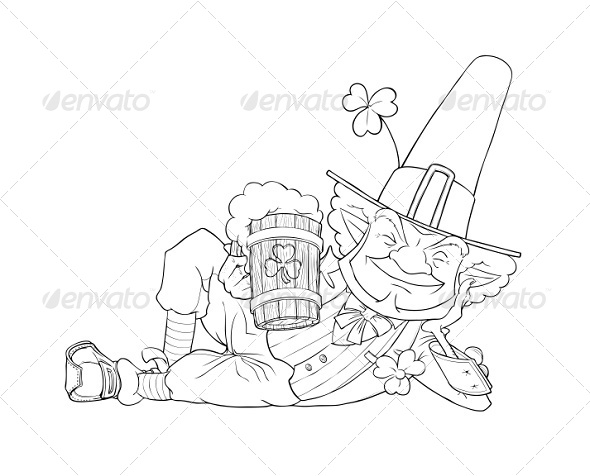 Elf Leprechaun with Beer For Saint Patrick's Day - Miscellaneous Seasons/Holidays