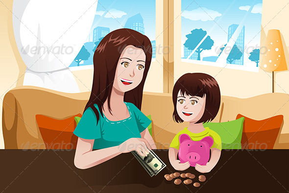 Mother and Daughter with Piggy Bank - People Characters