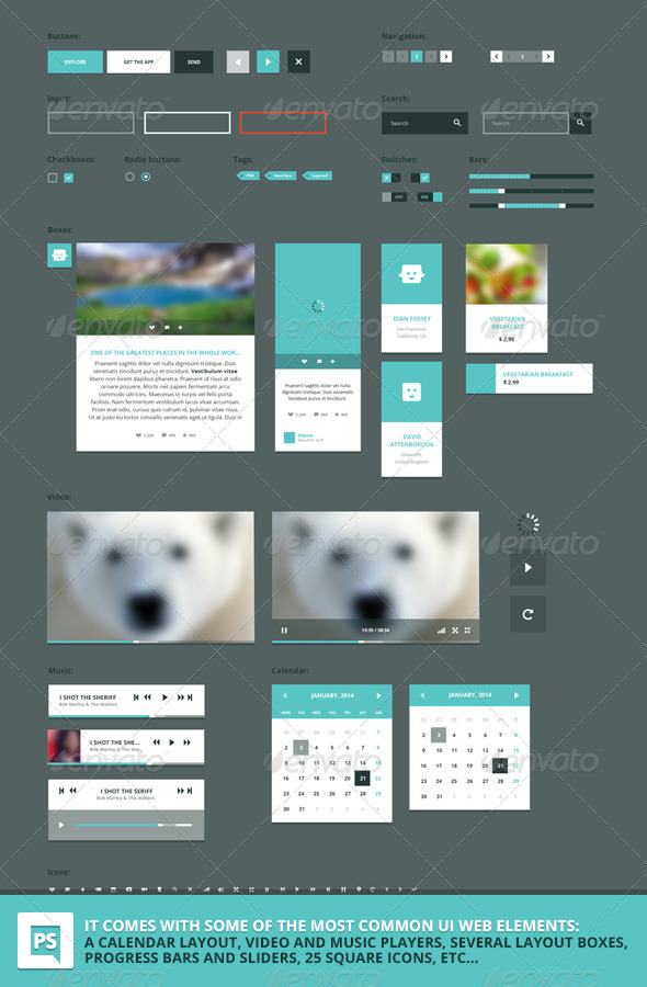 """Square"" PSD vector UI web set - User Interfaces Web Elements"