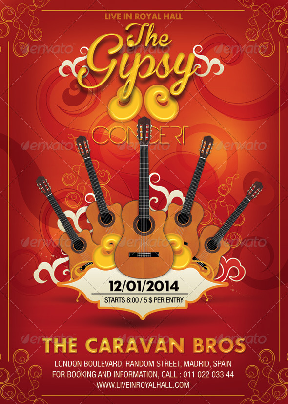 Gipsy Guitare Music Concert - Events Flyers