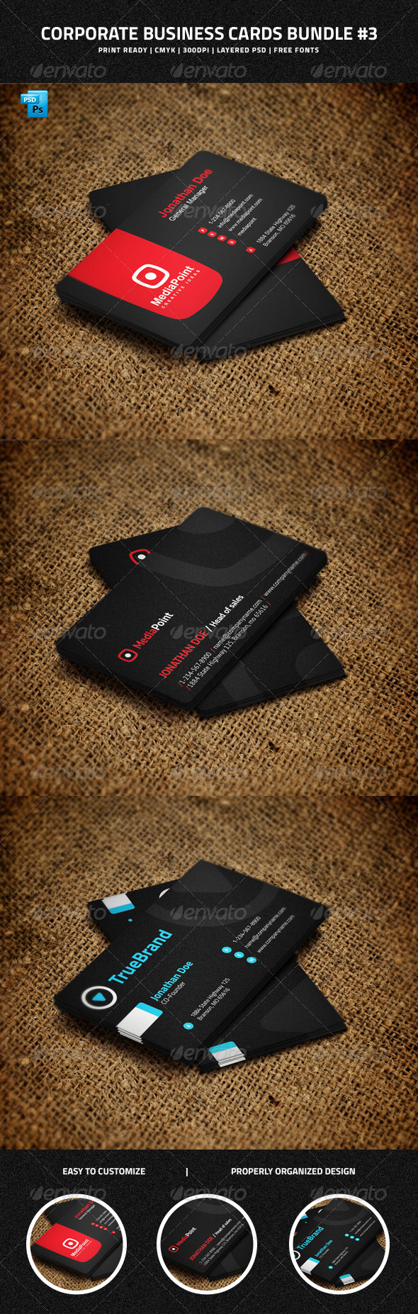 Corporate Business Cards Bundle #3 - Corporate Business Cards