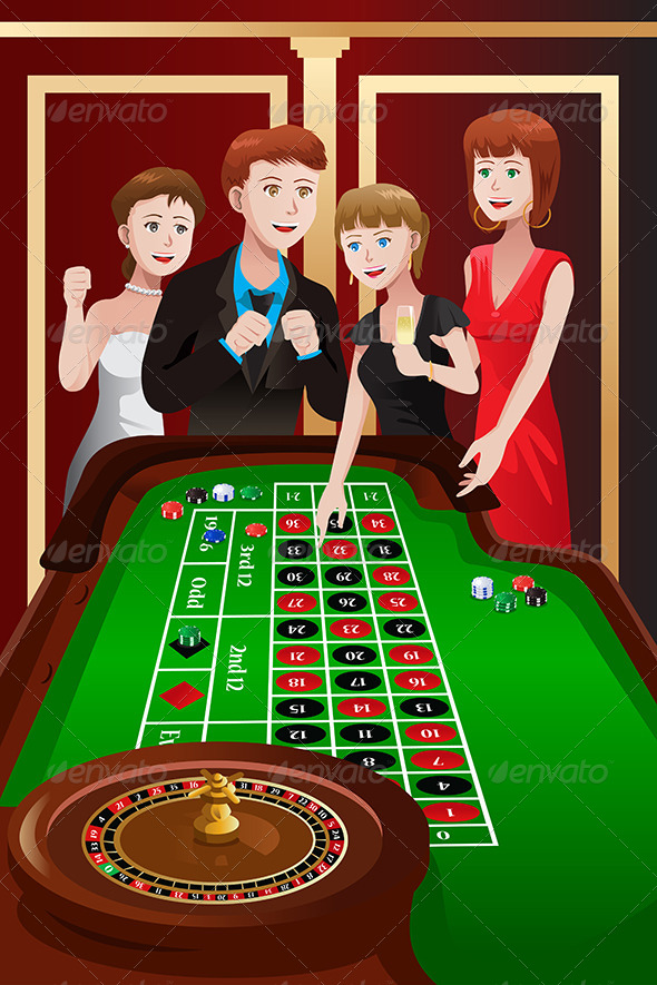 People Playing Roulette in a Casino - People Characters