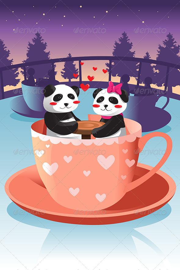 Panda in Love - Animals Characters