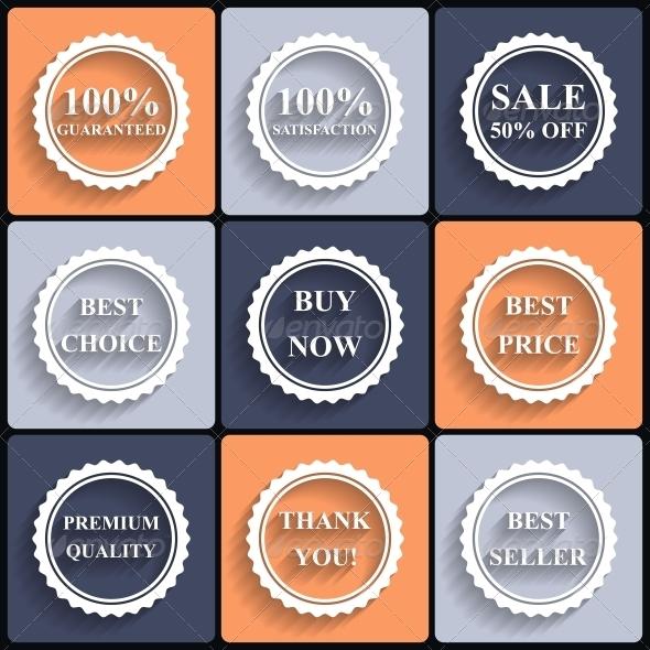 Set of Flat Sale Icons - Web Elements Vectors