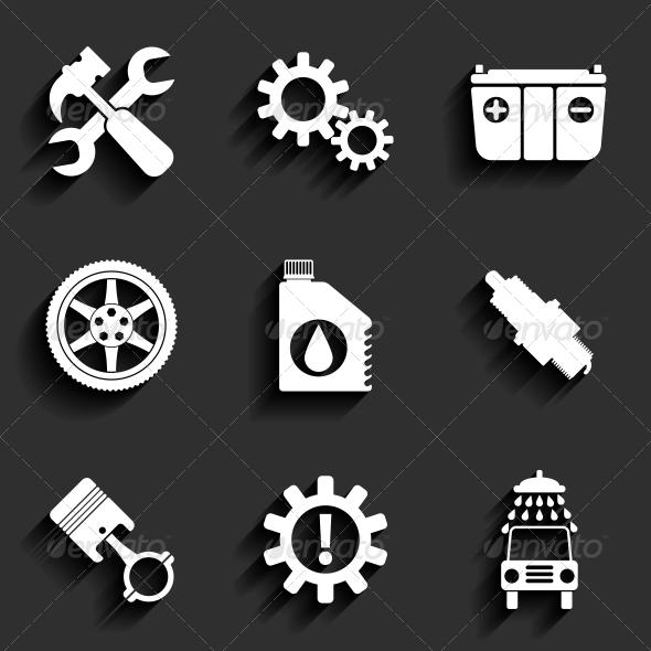 Car Service Maintenance Flat Icon Set - Web Elements Vectors