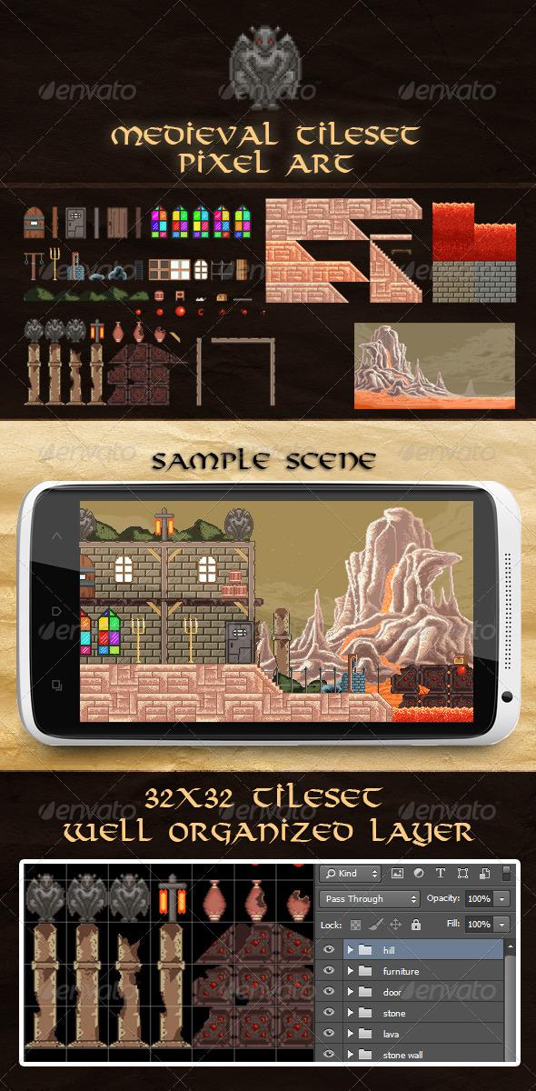 Medieval Pixel Art Tile Set - Tilesets Game Assets
