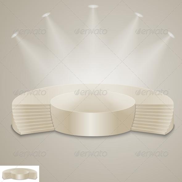 Empty Illuminated Podium - Backgrounds Decorative