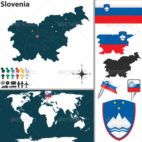 Map of Slovenia - Travel Conceptual