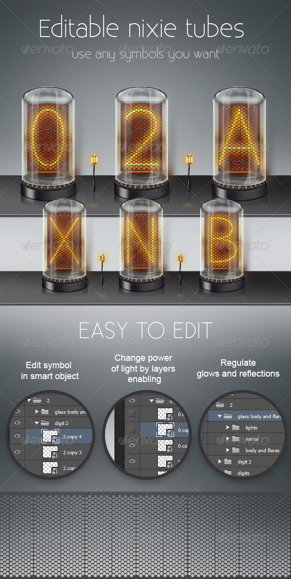Editable Nixie Tubes - Objects Illustrations