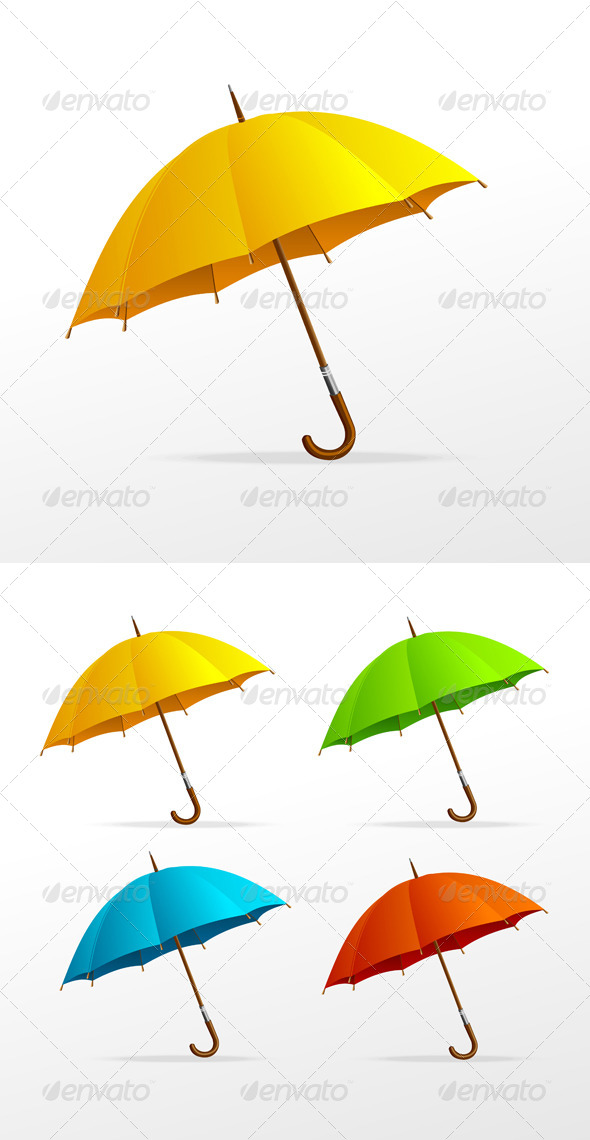 Vector Umbrellas Colour Set  - Seasons Nature