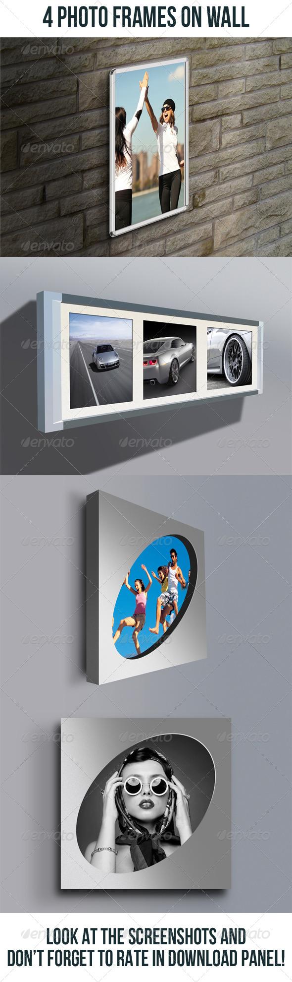 4 Photo Frames On Wall Bundle - Artistic Photo Templates
