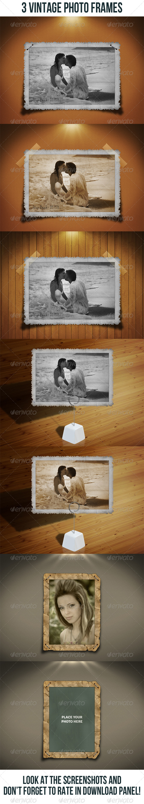 3 Vintage Photo Frames Bundle - Artistic Photo Templates