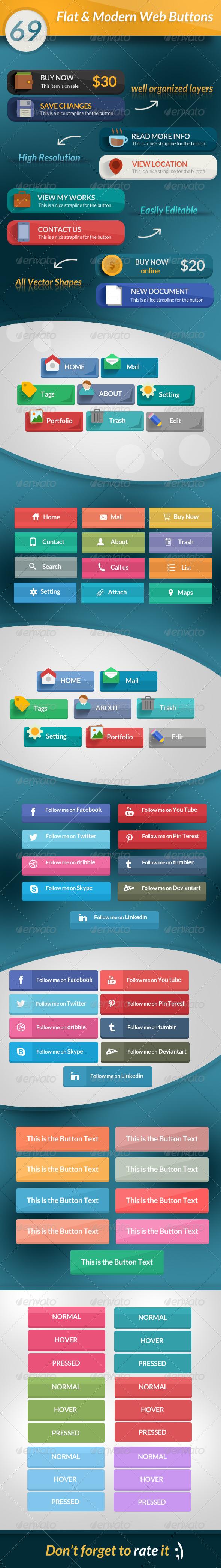 69 Flat & Modern Web Buttons - Buttons Web Elements