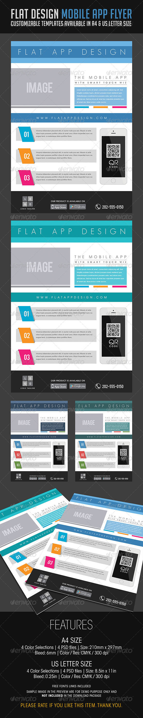 Flat Design Mobile App Flyer - Flyers Print Templates