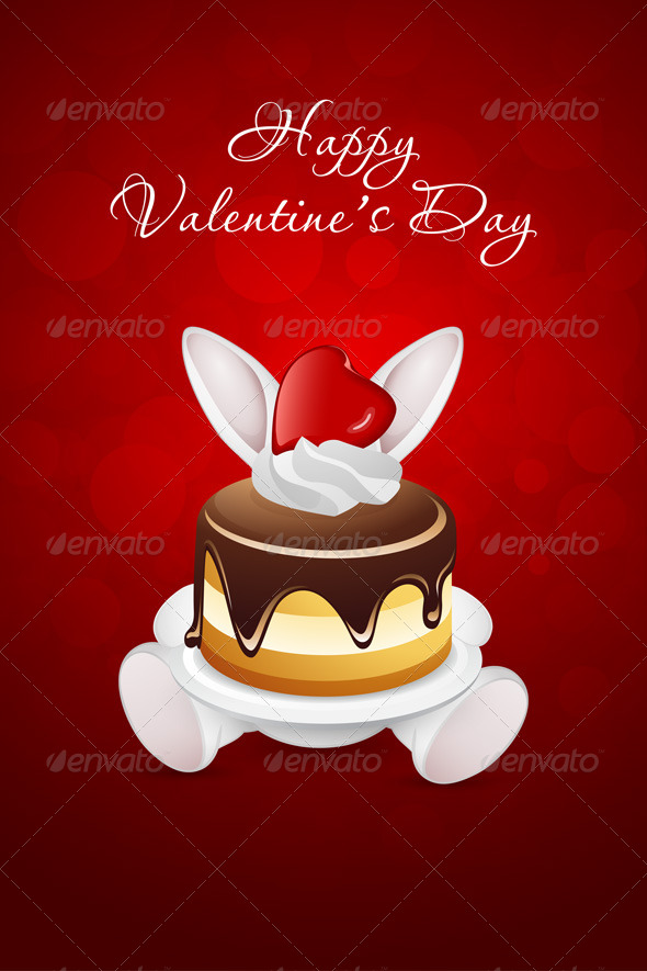 Valentine's Day Card with Rabbit and Cake - Valentines Seasons/Holidays
