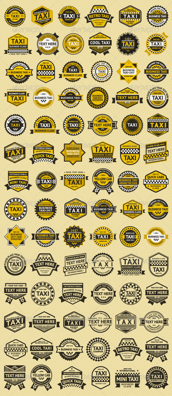84 stamps. Taxi Insignia - Services Commercial / Shopping