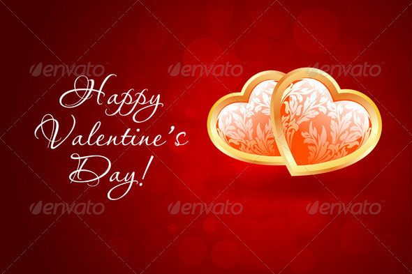 Valentine's Day Background with Floral Hearts - Valentines Seasons/Holidays