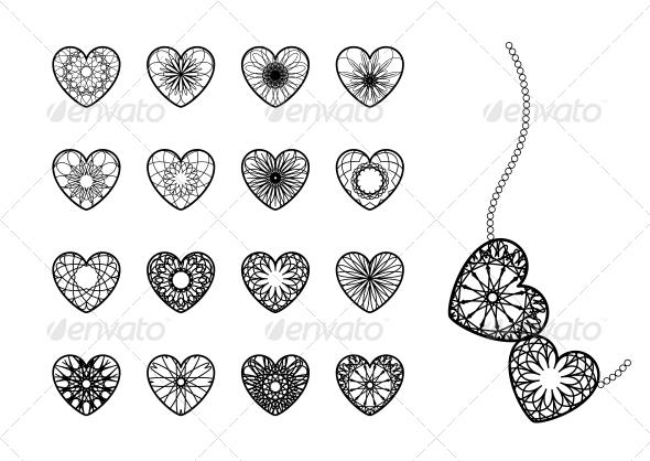 Ornamental Heart Symbols - Decorative Symbols Decorative