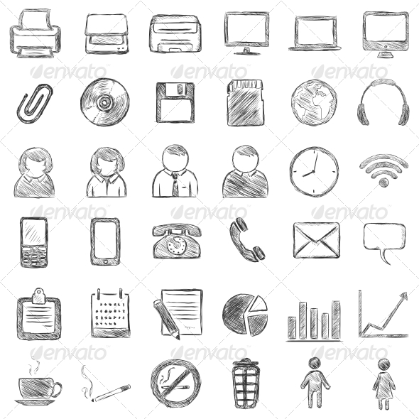 Set of 36 Black Sketch Icons - Concepts Business