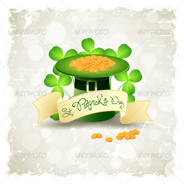 Grungy Patrick's Day Card with Leprechaun Hat - Seasons/Holidays Conceptual