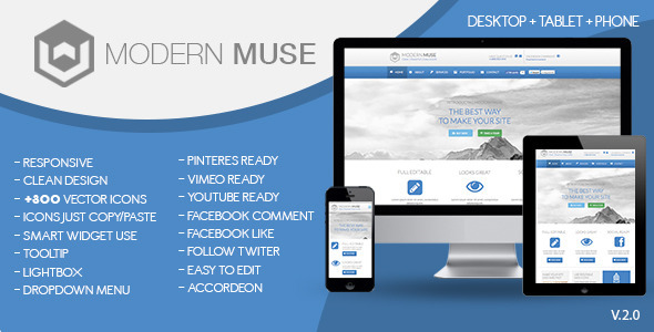 Modern Muse Template 2.0 - Corporate Muse Templates