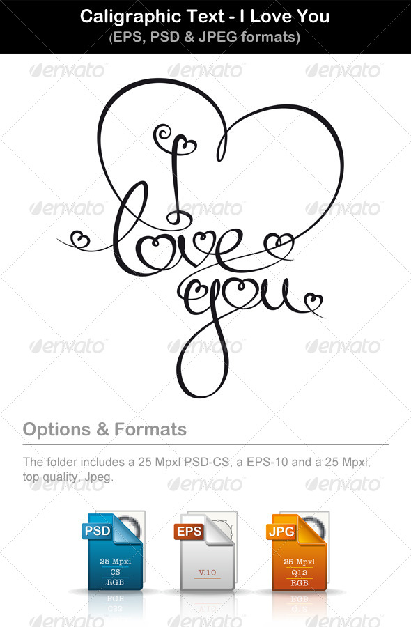 Calligraphic Text I Love You - Valentines Seasons/Holidays