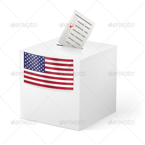 Ballot Box with Voicing Paper USA - Miscellaneous Vectors
