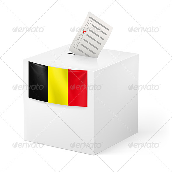 Ballot Box with Voicing Paper Belgium - Miscellaneous Vectors