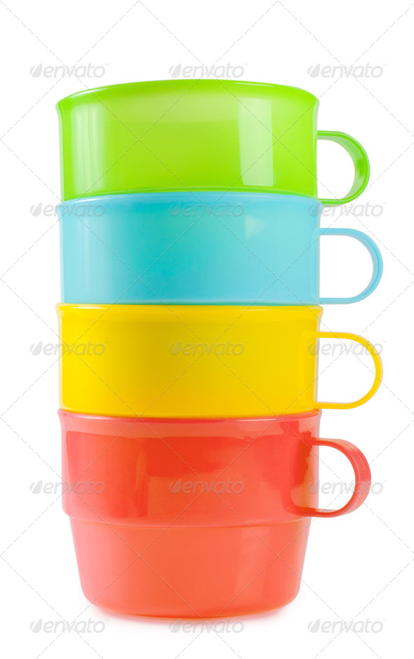 Pyramid of plastic cups - Stock Photo - Images