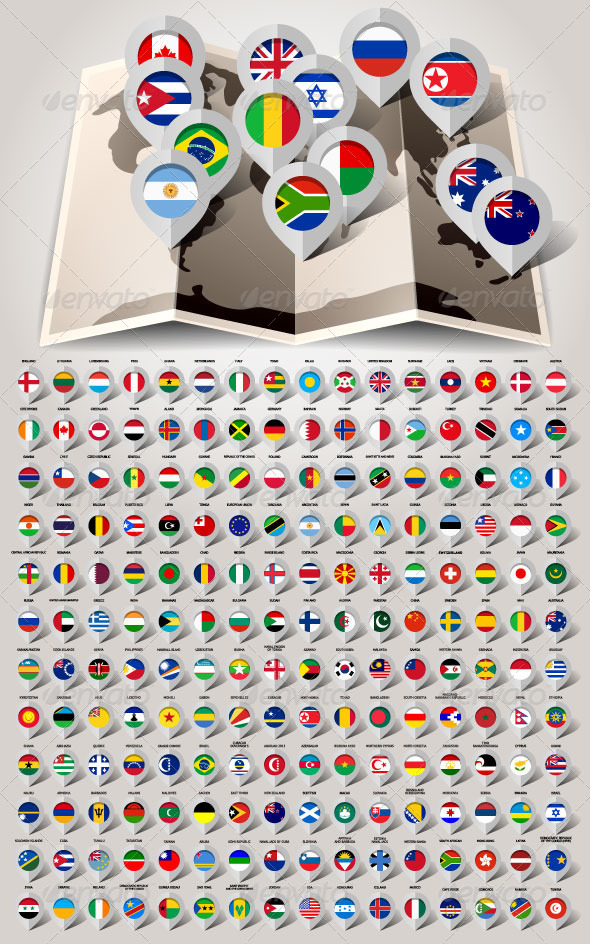 Map World 192 Markers with Flags - Icons