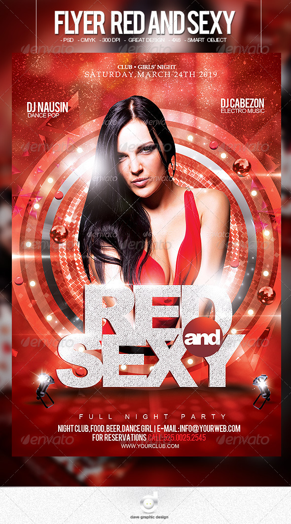 Flyer Red and Sexy Party - Clubs & Parties Events