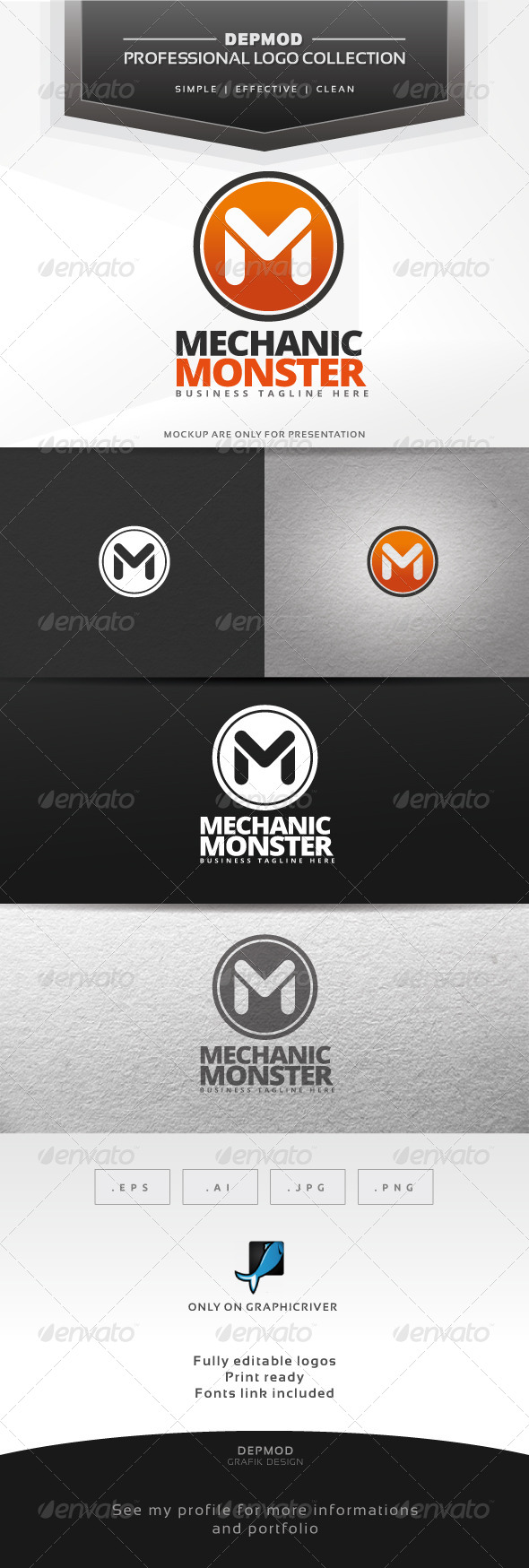 Mechanic Monster Logo - Letters Logo Templates