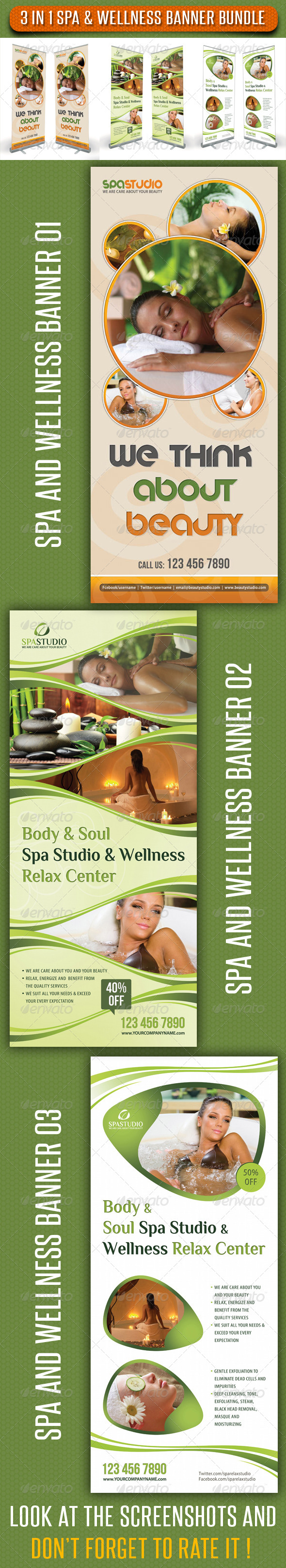 3 in 1 Spa Wellness Banner Bundle 01 - Signage Print Templates