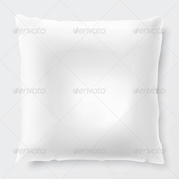 Isolated White Pillow with Shadow - Man-made Objects Objects
